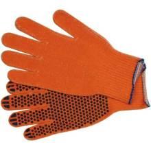 Рукавиці (1500 SILK) помаранчеві з ПВХ-крапкою, 7 клас, 10 розмір, бавовна 60%+поліестер 40%