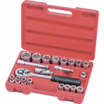 Набір інструментів (головок) 1/2 21 предмет 10-32мм + тріскачка,подовжені MTX MASTER 135219