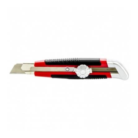 Ніж 18 мм висне лезо, гумова ручка + 5лез  МТХ 789219