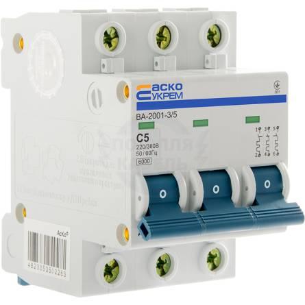 Автоматичний вимикач 5А/3-полюсний ВА2001/С АсКО