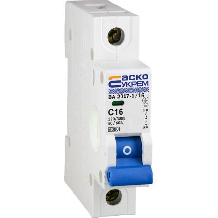 Автоматичний вимикач 16А/1-полюсний ВА2017/С АсКО