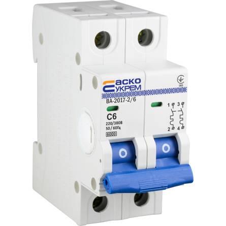 Автоматичний вимикач 6А/2-полюсний ВА2017/С АсКО