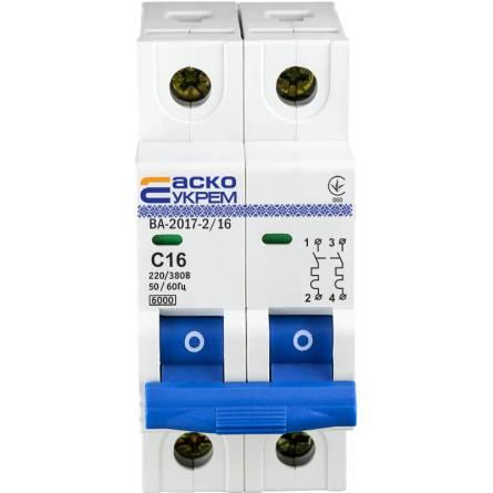 Автоматичний вимикач  16А/2-полюсний ВА2017/С АсКО