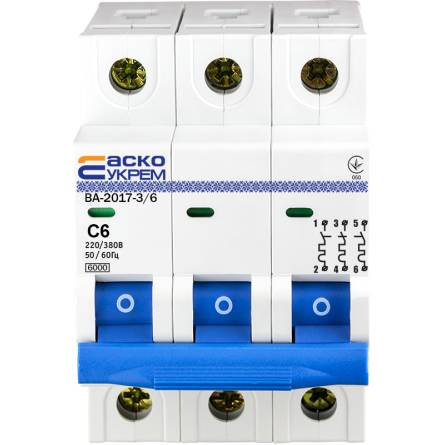 Автоматичний вимикач 6А/3-полюсний ВА2017/С АсКО