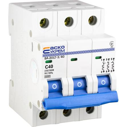 Автоматичний вимикач 40А/3-полюсний ВА2017/С АсКО