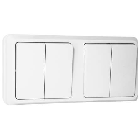 Вимикач зовнішній двохклавішний білий В310-2-0-Cb-W ІР20 Аско