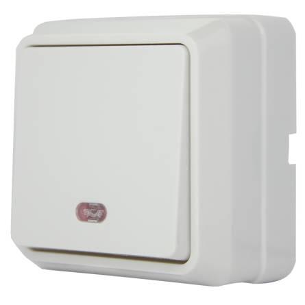 Вимикач зовнішній одноклавішний з підсвідкою, білий В310-1-1-Cb-W ІР20 Аско
