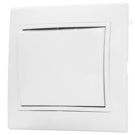 Вимикач Аско 1-клавішний прохідний білий ВВпсб 10-1-0-FI-W