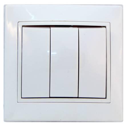 Вимикач Аско 3-клавішний білий ВВсб 10-3-0-FI-W