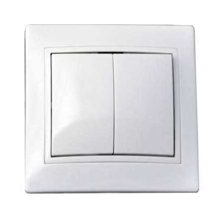 Вимикач Аско 2-клавішний  білий ВВсб 10-2-0-FI-W