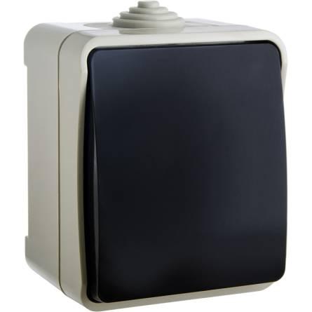 Вимикач зовнішній одноклавішний (чорна клавіша) В310-1-ІР44N Аско