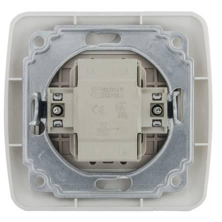 Вимикач Аско 2-клавішний з підсвіткою білий ВВсб 10-2-1-FI-W