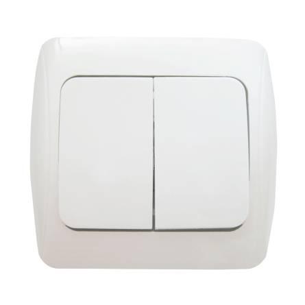 Вимикач Аско 2-клавішний білий ВВсб 10-2-0-Sq-W