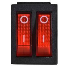 Перемикач 2-клавішний (червона підсвідка) КСD2-2101N R/B 220V