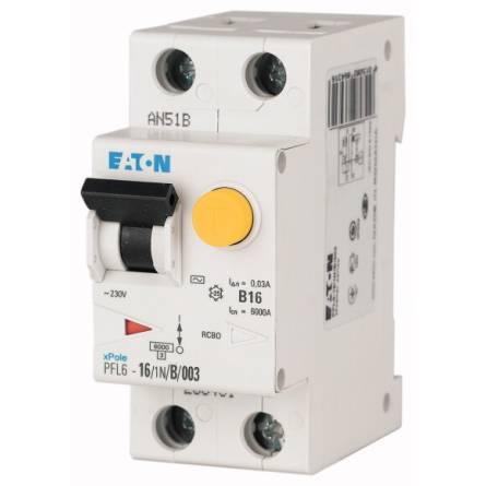 Диференційний автомат PFL6-10/1N/С/0,03 EATON