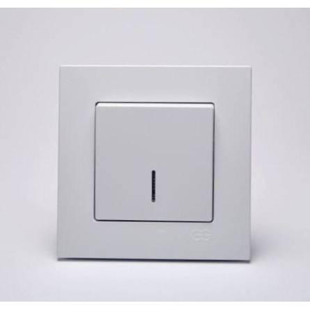Вимикач Eqona 1-клавішний прохідний з підсвіткою білий