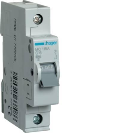 Автоматичний вимикач 16/1 MC116A/С Hager