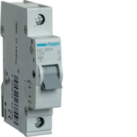 Автоматичний вимикач 20/1 MC120A/С Hager