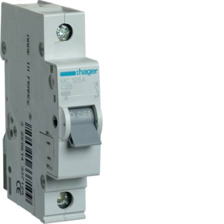Автоматичний вимикач 25/1 MC125A/С Hager