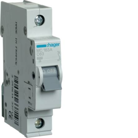 Автоматичний вимикач 63/1 MC163A/С Hager