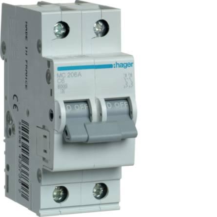 Автоматичний вимикач     6/2 MC206A/С Hager