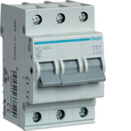 Автоматичний вимикач 20/3 MС320/C Hager