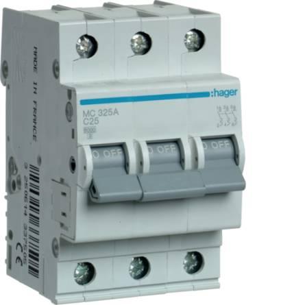 Автоматичний вимикач 25/3 MС325А/C Hager