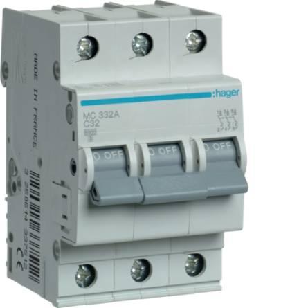 Автоматичний вимикач 32/3 MС332А/C Hager