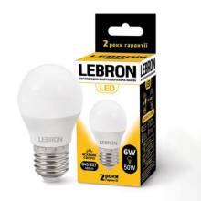 Лампа 6W Е27 4100К LEBRON світлодіодна 00-10-32
