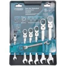 Набір ключів ріжково-накидних з трещіткою 7 шт, 8-19мм, шарнірні, CrV, GROSS 14891