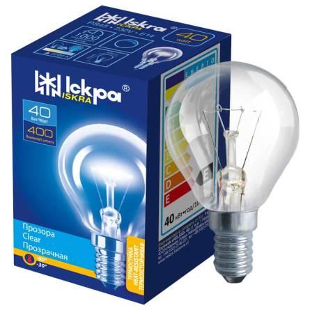 Лампа куля прозора 40 Вт Е14 індивідуальна упаковка ІСКРА