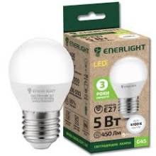 Лампа 5W Е27 4100К куля  ENERLIGHT світлодіодна